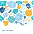 Blue and yellow flowersilhouettes horizontal decor vector image