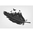 flying birds and forest in feather vector image