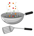 Frying pan and spatula vector image