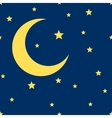crescent moon and stars seamless pattern vector image