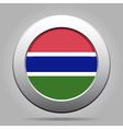 Flag of Gambia Shiny metal gray round button vector image