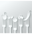 vegetables fork paper cut background vector image