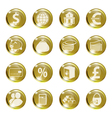 Set of icons of gold color on a subject bank vector image