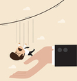 Businessman falling from rope to the big hand vector image