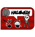 Funny halloween dancing monsters greeting card vector image