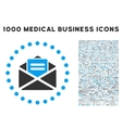 Open Mail Icon with 1000 Medical Business Symbols vector image