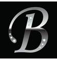 silver metallic letter B vector image