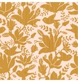 Textured wooden magnolia flowers seamless pattern vector image