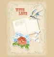 Vintage scrapbook elements retro card love design vector image