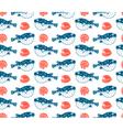 Fugu and shells seamless pattern vector image