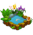 beautiful pond with snail fish and flowers vector image