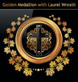 gold medallion wreath vector image vector image