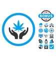 Cannabis Care Hands Flat Icon with Bonus vector image