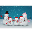 family of snowman christmas background vector image