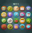 Round Bright Icons with Long Shadow Set 1 vector image