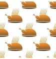 Seamless pattern of roast chicken on dish vector image