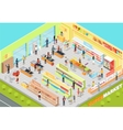 Supermarket Interior Isometric Projection vector image