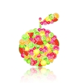 apple silhouette composed of fruits vector image vector image