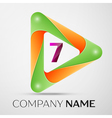 Number seven logo symbol in the colorful triangle vector image