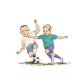 soccer players running with the ball on the field vector image vector image