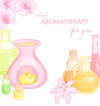 oil burner with orchid and lily flowers and set of vector image