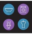 Bathroom flat linear icons set vector image