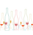 Bottles and glass vector image