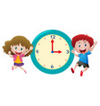 boy and girl with blue clock vector image