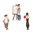 french men characters - artist mime and gourmand vector image