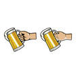 hand grab glass of beer vector image