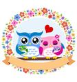 owl floral ribbon emblem vector image