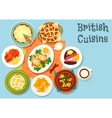 British cuisine main dishes with snack food icon vector image