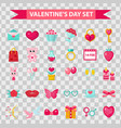 valentines day icons flat style isolated on vector image
