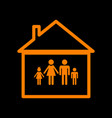 family sign  orange icon on black vector image