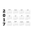 Calendar on 2017 year with week starting from vector image
