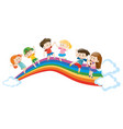 children dancing on rainbow vector image