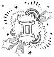 Doodle pop astrology gemini vector image