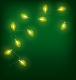 Glowing Christmas lights on green vector image