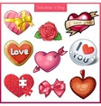 Set of candy hearts icons for Valentines Day vector image