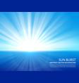 white sun burst in blue sky abstract sunlight vector image