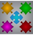 Color 5 Puzzles Pieces JigSaw vector image