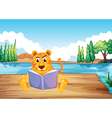 A serious tiger reading a book at the diving board vector image