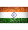 Flags India with broken glass texture vector image