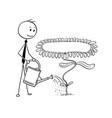 cartoon of businessman gardener watering blooming vector image