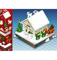 Isometric Christmas Snow Capped House vector image