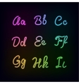 Neon rainbow color glow alphabet vector image