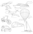 Travel set with car air-balloons ships bike vector image