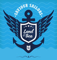Vintage label with anchor maritime vector image