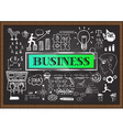 Business Icon Set on Chalkboard vector image