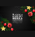 christmas wooden background with decoration vector image